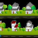 houses clipart, road, trees